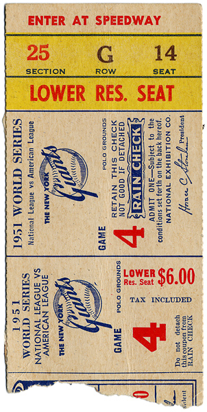 1951 World Series NY Giants vs NY Yankees Game 4 Ticket (Mantle and Mays Rookie Year)