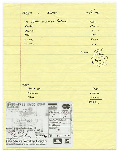 James B. Irwin Signed Receipts and Air Travel Archive