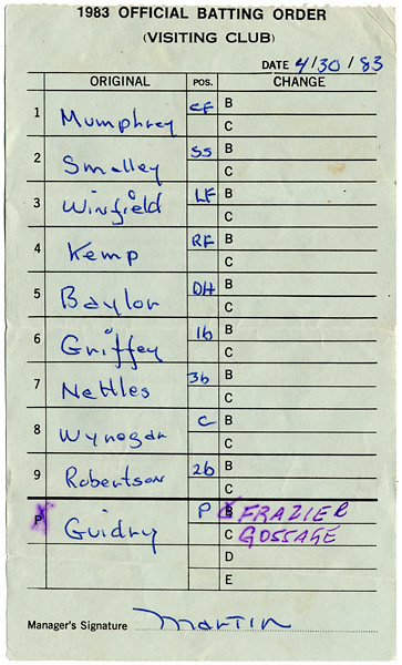 1983 Billy Martin Signed NY Yankees Line-Up Card