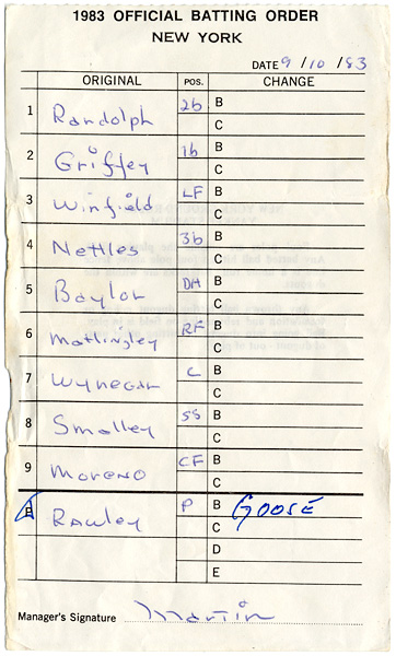 1983 NY Yankee Line-Up Card Signed by Billy Martin