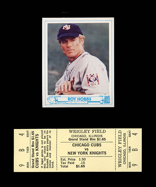 The Natural NY Knights Prop Ticket & Roy Hobbs Rookie Card
