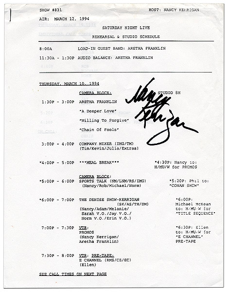 Nancy Kerrigan Signed Saturday Night Live Rehearsal Schedule