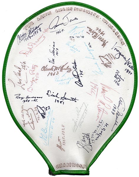 Wimbledon Tennis Racquet Cover Signed by 27 Champions