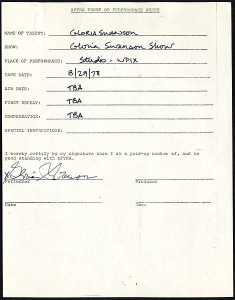 Gloria Swanson Signed AFTRA Proof Performance Sheet