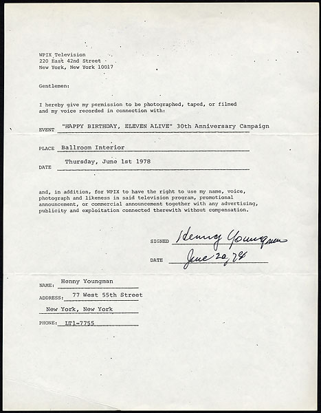 Henny Youngman Signed Contract Release