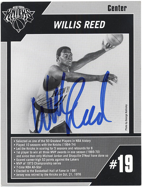 Willis Reed Signed New York Knicks Stats Card