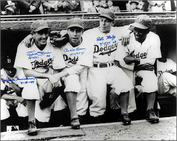 1947 Brooklyn Dodgers Infield Dugout (Jackie Robinson Debut) Signed and Inscribed Photograph