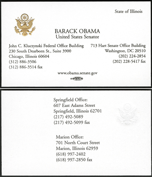 Barack Obama and Joseph Biden Original Senatorial Business Cards
