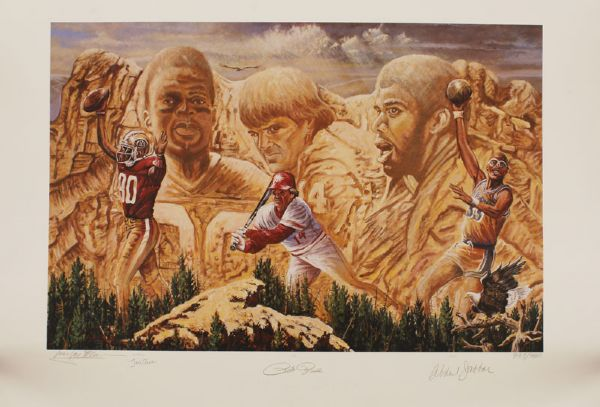 The All-Time Leaders Lithograph Signed By Rice, Rose & Abdul Jabbar