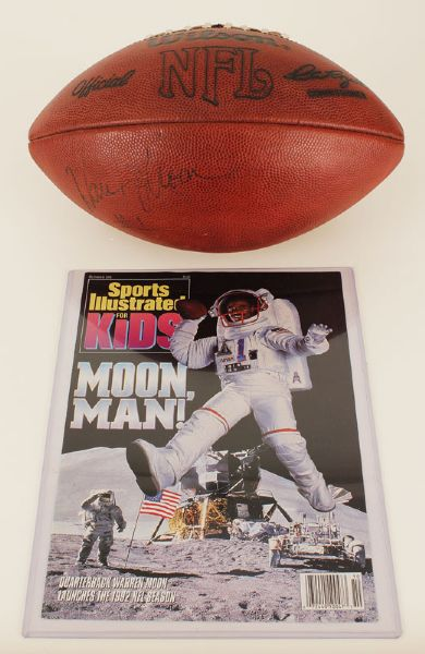 Warren Moon Signed Football Used on SI For Kids Magazine Cover