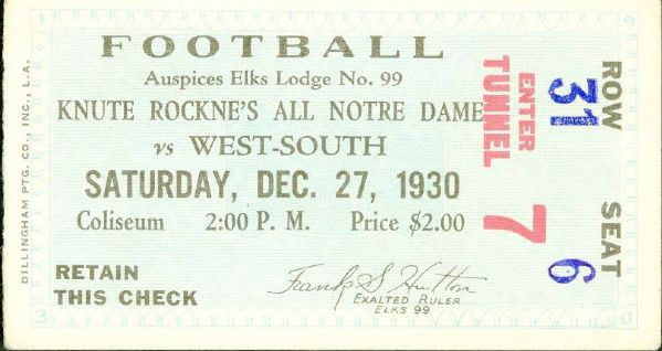 1930 Knute Rockne's All Stars Football Ticket (Last Game Before Fatal Plane Crash)