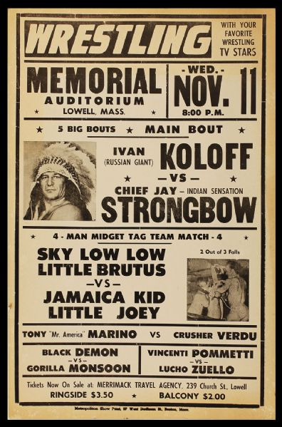 Original 1960's Wrestling Poster Featuring Ivan Koloff vs. Chief Jay Strongbow