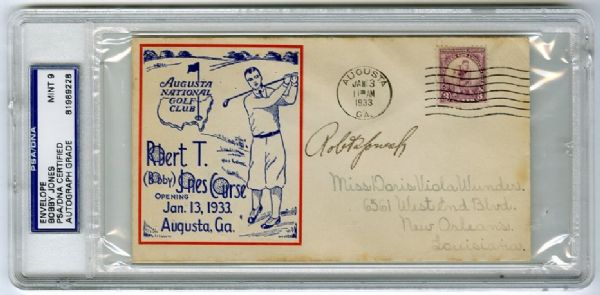 Bobby Jones Signed 1933 Augusta National Golf Club Grand Opening Cachet