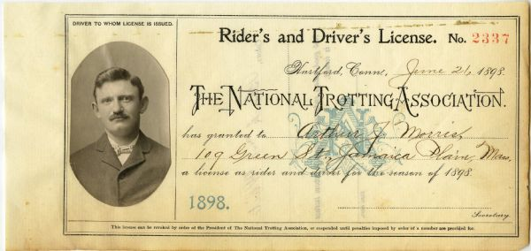 Horse Jockey Trotters License Circa 19th Century