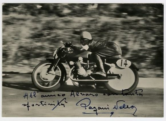 World Champion Motorcycle Road Racer Nello Pagani Vintage Signed Photo c. 1950's