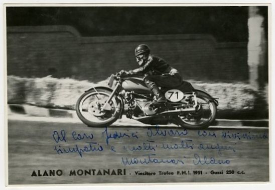 Motorcycle Road Racer Alano Montanari Vintage Signed Photograph Circa 1950's
