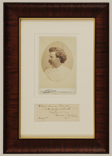 Mark Twain Signed Handwritten Note & Original Cabinet Photograph (1908)