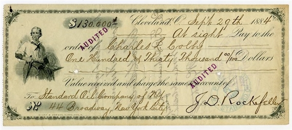 1884 John D. Rockefeller Signed Standard Oil Check For $130,000.00