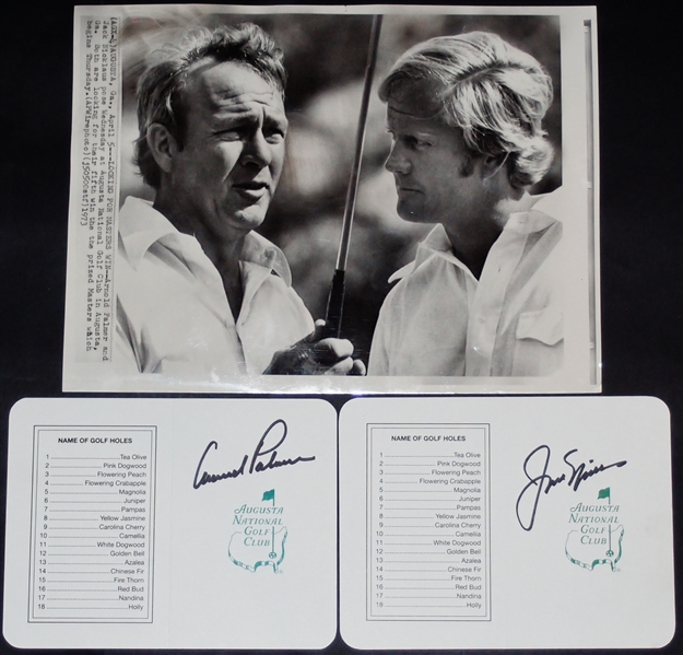 Original Palmer & Nicklaus Masters Tournament Photograph with Signed Scorecards
