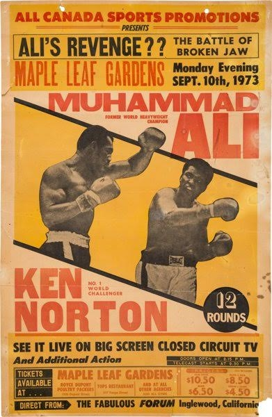 1973 Muhammad Ali vs. Ken Norton II Closed Circuit Fight Poster