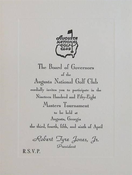 1958 Masters Invitation (Palmers 1st Masters Win) & Palmer Signed Green Jacket Photograph