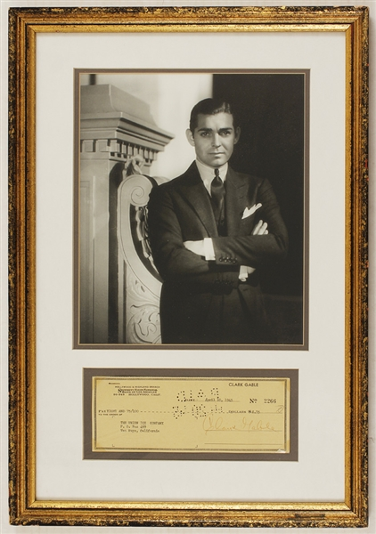 Clark Gable Signed Check With Photograph (15 x 22.5)