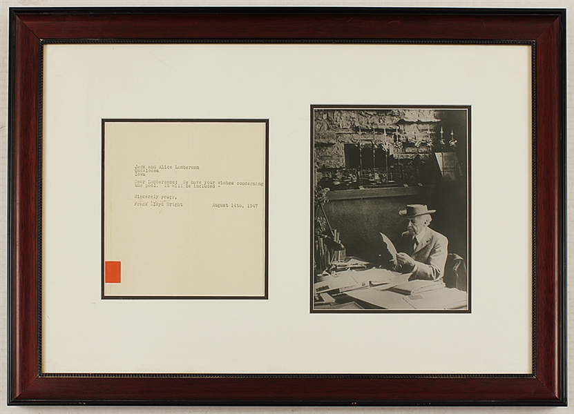 Frank Lloyd Wright Signed Letter with Photograph (25.5 x 18)