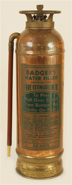 "Antique Copper/Brass ""Badger"" Bell System Fire Extinguisher"