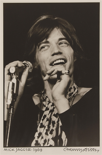 Mick Jagger 1969 Photograph Signed by Photographer Henry Diltz