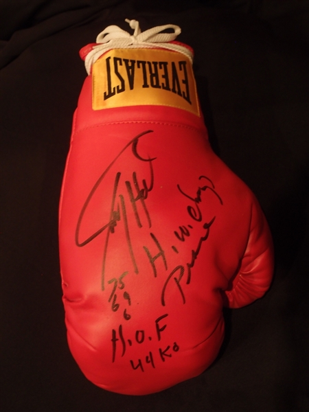 Heavyweight Champion Larry Holmes Signed & Inscribed Everlast Boxing Glove