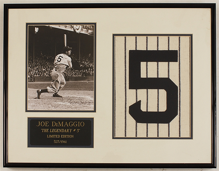 Joe DiMaggio Signed Limited Edition Legendary #5 Display