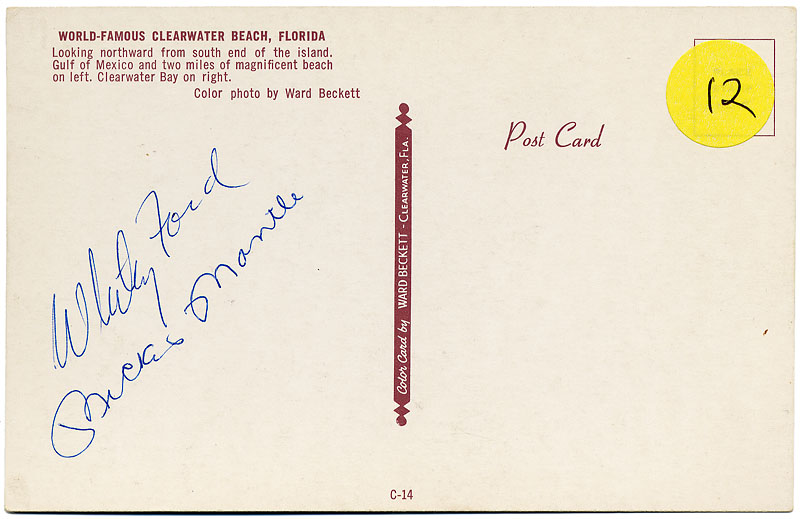 Circa 1956 Vintage Signed Mickey Mantle & Whitey Ford Postcard