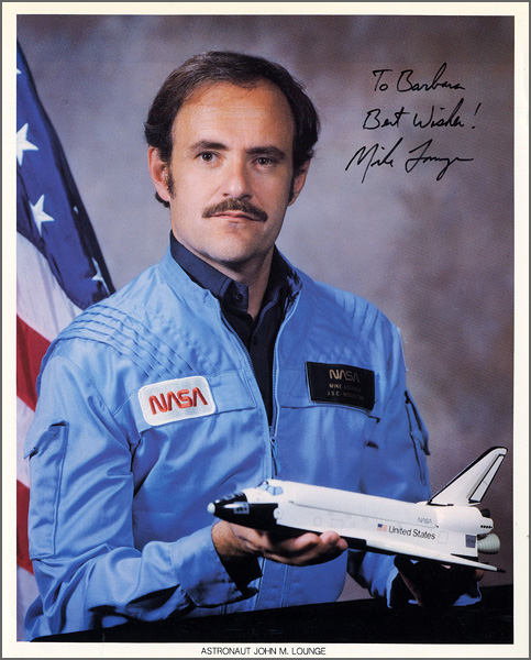 Astronaut John M. Lounge Signed & Inscribed Official NASA Photograph