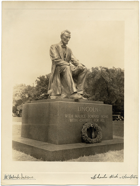 Abraham Lincoln Monument Signed Original Photograph by Sculptor Charles Keck