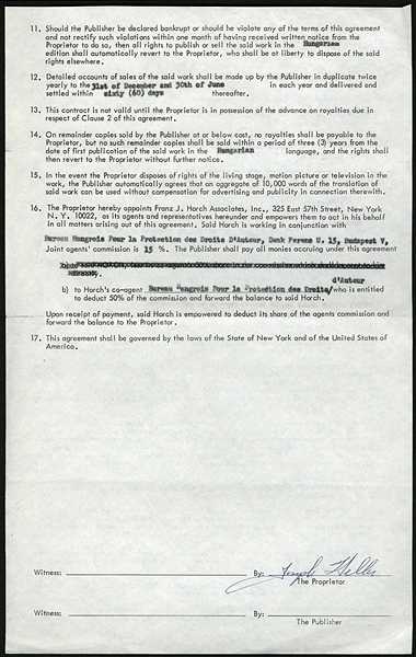 Joseph Heller Signed CATCH-22 Publishing Contract
