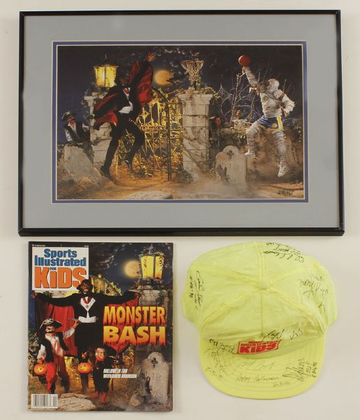 "Halloween Proof Photograph of David Robinson & Mitch Richmond Used in 1990 ""SI"" For Kids Magazine with Signed Hat"