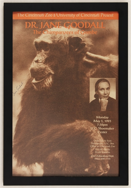 Dr. Jane Goodall Signed 1993 Cincinnati Zoo Appearance Broadside