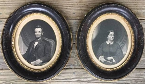 1860's Abraham Lincoln and Mary Todd Original Large Photographic Print Engravings
