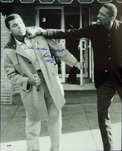 "Bill Russell Signed & Inscribed ""Ali is the Greatest"" Photograph (16x20)"