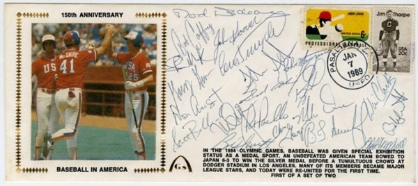1984 USA Olympic Baseball Team Signed 150th Anniversary Cachet